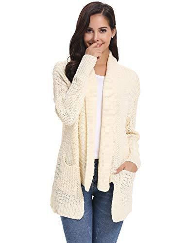 Abollria Damen Casual Strickjacke Warm Grobstrick Cardigan mit Schalkragen und Taschen für Winter Beige