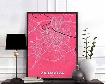 MG global ZARAGOZA - Póster de mapa de España en color de la ciudad natal con moderna para del hogar, de la oficina, arte de pared, dormitorio, regalo sin marco para pared