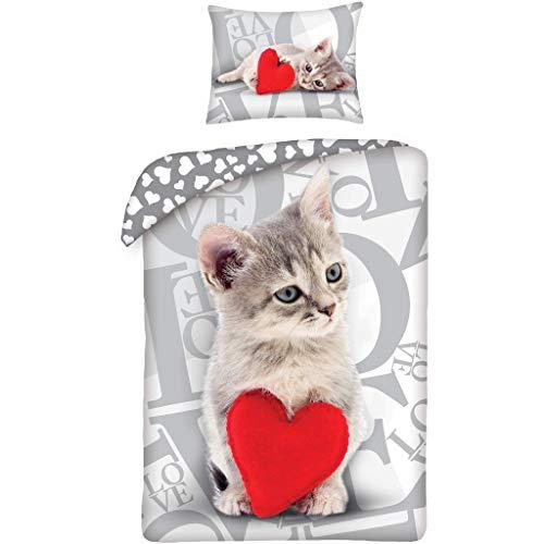 Halantex - Parure de lit avec housse de couette et taie d'oreiller en coton, motif chat mignon,...
