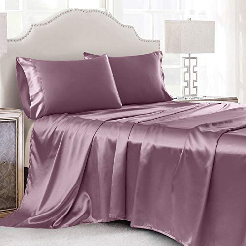 Cobedzy 4Pcs Satin Sheets Queen Silky Satin Sheet Set Lilac Purple Satin Bed Sheets with Deep Pocket Satin Fitted Sheet, Flat Sheet, Satin Pillowcase