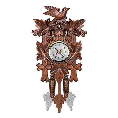 SOONHUA Reloj de cuco, hecho a mano, de madera, reloj de cuco, estilo árbol de casa, reloj de pared, estilo vintage, decoración del hogar 303
