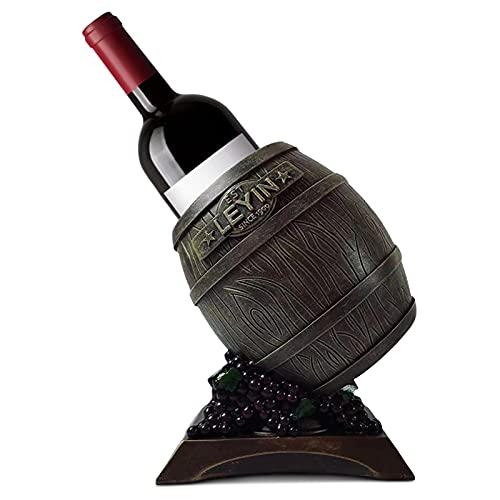JXAA Tenedor De Vino De Madera De Mesa, Diseño De Vino Retro Barril Diseño De Vino Rack De Vino para La Cocina Almacenamiento De Barra De Cocina, Bodega, Gabinete, Despensa, Etc, Bronce