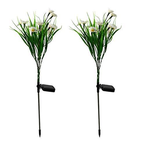 Luces de flores solares de 2 unids, luces impermeables al aire libre solares LED, luces de estaca solares al aire libre de la flor de la margarita de la simulación, las luces de la trayectoria con ene