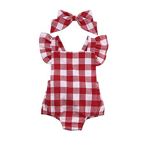 Switchali Bebe Vestidos Recién Nacido Bebé Niña Algodón Bowknot Ropa Bodysuit Mameluco Jumpsuit Set de Trajes 0~18 Meses (80)