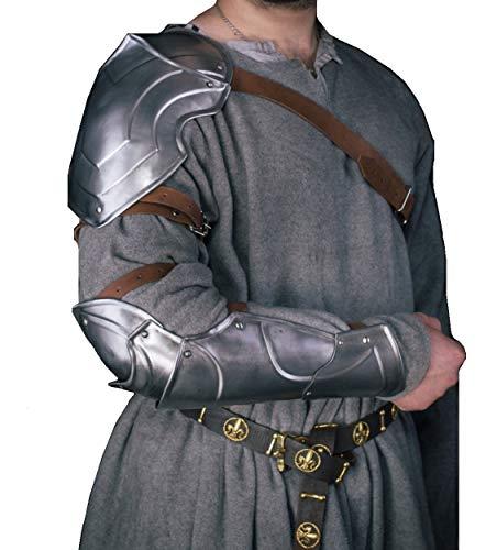Cubrehombros medievales individuales con caballero Bracer Fantasa Guerrero Armadura Renacimiento Plata