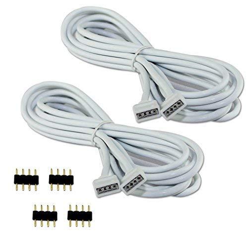 COOLWEST 2er-Pack 2M Verlängerung Anschluss Kabel für LED RGB-Strip 4 pin, Verbinder, geeignet für LED RGB Leiste Streifen [MEHRWEG]