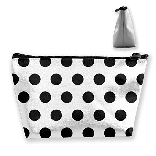 Travel Makeup Bag 2.7x4.7x8.7 in Lightweight Waterproof Multi-Purpose Trapezoidal Makeup Bag Cosmetic Bag Black Polka Dot Pattern