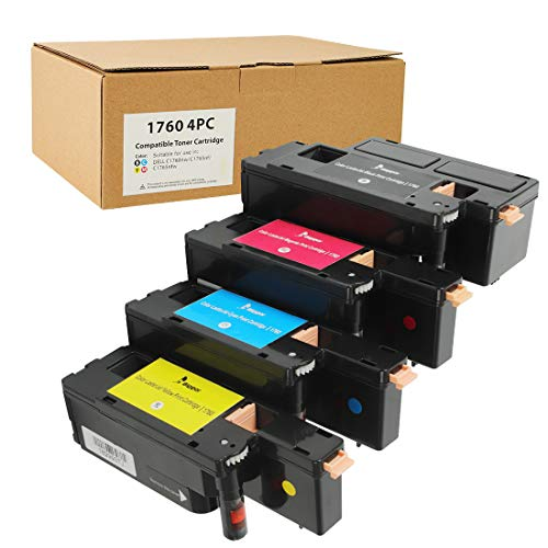 BIGGER Compatible Toner Cartridge Replacement for Dell 1250 Toner Cartridge (Black, Cyan, Magenta, Yellow, 4-Pack)
