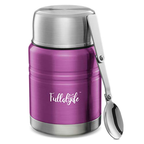 Fullalyfe Thermos Food Jar, 17 oz Stainless Steel Double Wall Vacuum Insulated Hot Food Container with Spoon and Wide Mouth, Soup Thermos for Kids and Adults, BPA Free - Stylish Design (Classic Pink)
