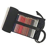 Pencil Wrap,Canvas Pencil Case Holder,Roll up Pen Bag for Gilrs Boys Men Women,48/72 Slots