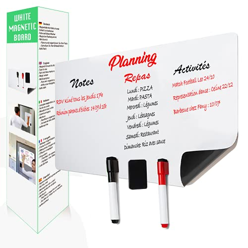 AFASITA Pizarra magnética A3 con rotuladores y borrador magnético - pizarra magnética para nevera - borrado en seco - pizarra magnética - lista de la compra - Papel Tipo de Pizarra Blanca A3