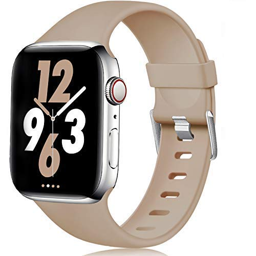 Laffav Compatible with Apple Watch Band 40mm 38mm 44mm 42mm for Women / Men, Soft Sport Bands Replacement Strap Accessory for iWatch Apple Watch Series 5 4 3 2 1 (Walnut, 38mm/40mm S/M)
