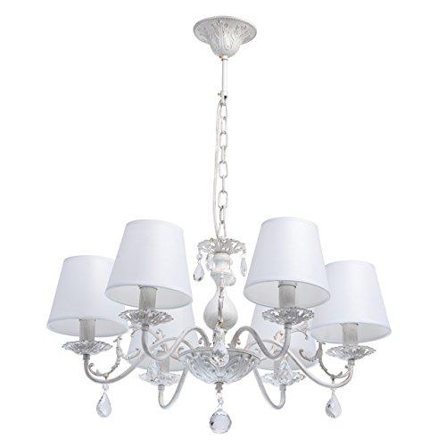 lampadario 8 luci shabby MW-Light 448012106 Lampadario da Soffitto Pendente in Metallo Colore Bianco Oro Paralume Tessile Cristallo Trasparente