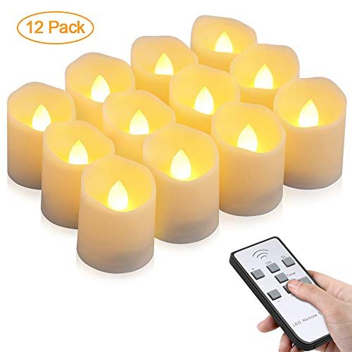 LED Kerzen, otumixx 12 LED Flammenlose Teelichter, Flackern Kerzen, Elektrische Kerze Lichter Fernbedienung mit Timerfunktion Warmweiß Dekoration für Weihnachten Party Hochzeit (Batterien Enthalten)