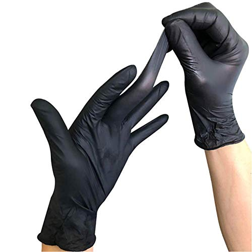 Disposable Medical Vinyl Gloves, YOUYA DENTAL 100PCS Disposable Vinyl Examination Gloves Powder Free Rubber Latex Free Glove Non Sterile Ambidextrous Comfortable Industrial Black Rubber Gloves, Size M