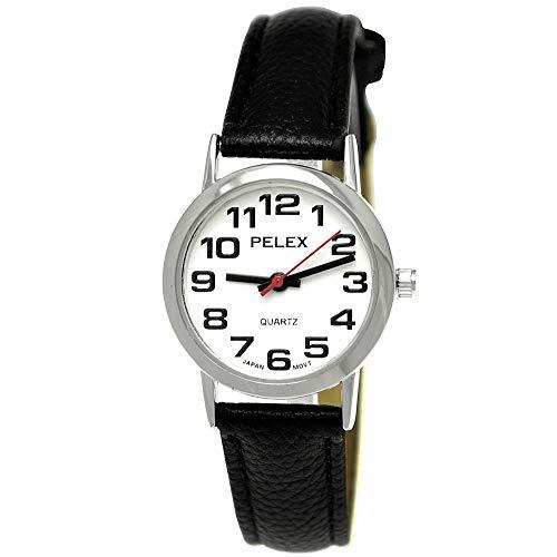 Pelex London Elegant dameshorloge analoog kwarts armbandhorloge klassiek design zwart zilver Japanse kwaliteit uurwerk witte wijzerplaat