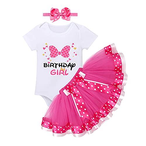 Baby Kleinkinder Mädchen 1/2. 1. 2. Geburtstag Outfit Minnie Mouse Kostüm Baumwolle Kurzarm Strampler Body Gepunktet Tutu Tüll Prinzessin Rock Stirnband 3tlg Party Bekleidungsset Rose 1 Jahr