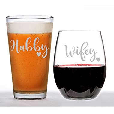 Beer Glass and Wine Glass Set, Hubby & Wifey