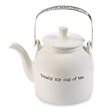 Mud Pie 4301007 Cup of Tea Personal Teapot, One Size, White