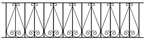 Regent Scroll Railing Fence Panel 1830mm GAP x 395mm High Galvanised Wrought Iron Steel Metal fencing RRZP06