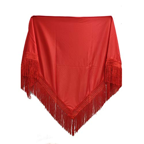 MUNDDY - Mantón de Colores Liso Para Adulto. Mantones Flamenco Sevillana.Color Rojo liso Negro Rosa Blanco Amarillo Azul. Envio desde madrid con seguimiento. (Rojo)