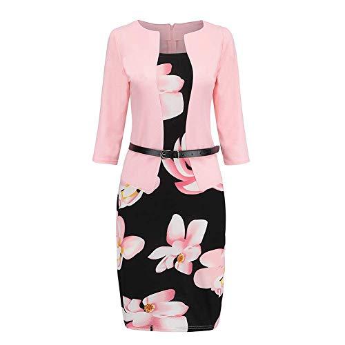 Huaheng Damska sukienka do biura, formalna sukienka Bodycon płaszcz ołówkowy sukienka z paskiem - różowy, L