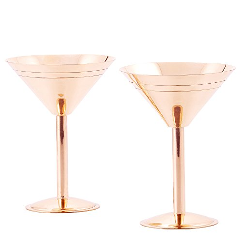 Old Dutch Solid Copper Martini Glasses, set of 2