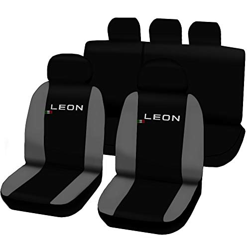 Lupex Shop Fundas para Asientos de Seat Leon 3A Serie Bicolor Negro-Gris Claro