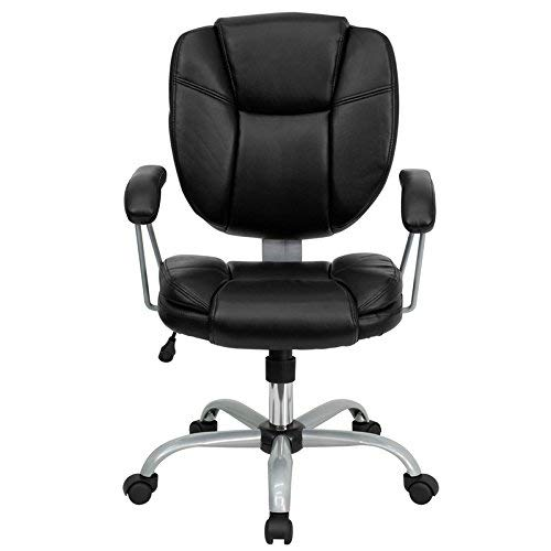 Flash Furniture Mid-Back Black Leather Swivel Task Office Chair with Pillow Top Cushioning and Platinum Epoxy Base & Arms -,