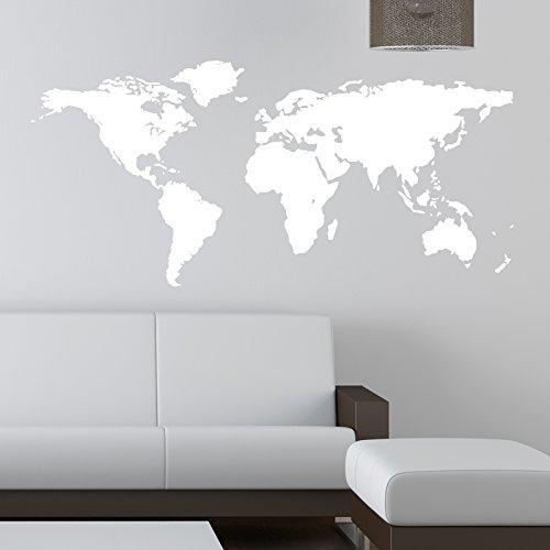 Mapa del mundo adhesivo de pared, Blanco, Xtra Large 150 cm x 75 cm