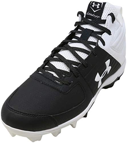 Under Armour Men's Leadoff Mid RM Baseball Shoe, Black (002)/White, 12