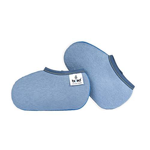 biped Kinder Stiefelsocken ZWERGPINGUIN - Gummistiefelsocken in rot oder blau - Socken für Ski- und Schlittschuhe z2742(blau-27-28)