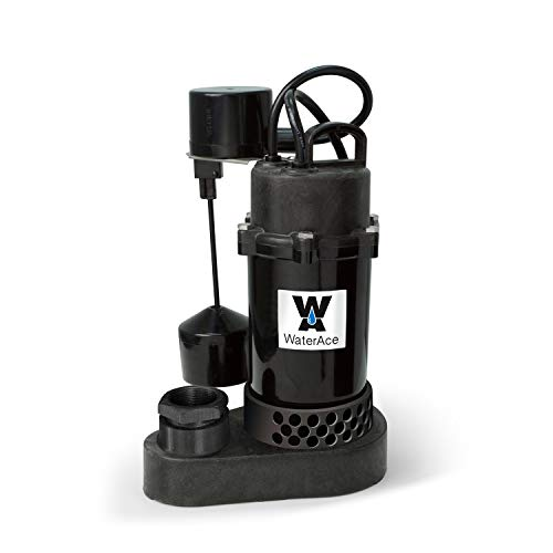WaterAce WA50PSV Sump Pump, 1/2 HP, Black