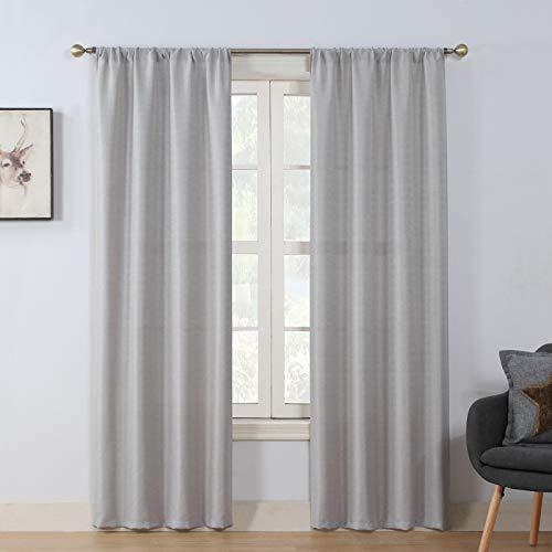 "Rama Rose Soft Burlap Look Rod Pocket Semi Sheer Window Curtain Panel for Living Room 37"" W X 84"" L, 1 Panel, Nature"