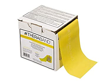 TheraBand Resistance Band 25 Yard Roll Thin Yellow Non-Latex Professional Elastic Bands For Upper & Lower Body Exercise Workouts Physical Therapy Pilates & Rehab Dispenser Box Beginner Level 2