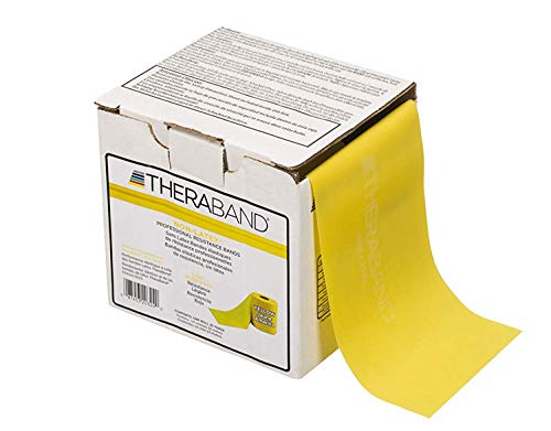 TheraBand Resistance Band 25 Yard Roll, Thin Yellow Non-Latex Professional Elastic Bands For Upper & Lower Body Exercise Workouts, Physical Therapy, Pilates, & Rehab, Dispenser Box, Beginner Level 2