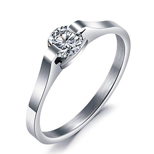 Infinity U para mujer anillo de cristal de compromiso anillos de matrimonio anillo solitario tamaño 49 hasta 57 plateado con regalo bolsa