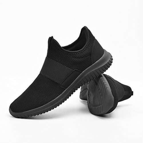 Feetmat Mens Workout Shoes Slip On Laceless Tennis Running Sneakers Non Slip Gym Walking Shoes Black 7