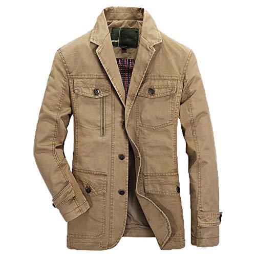 Spring Autumn Military Blazer Jacket Men Casual Washed Coats Army Bomber Suit Jackets Denim Cargo Trench Plus Size Khaki XL