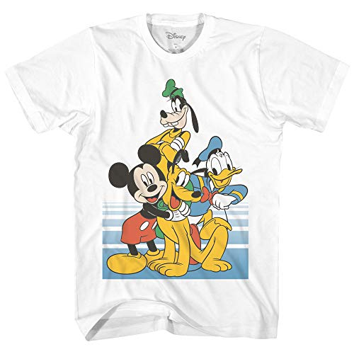 Disney Mickey Mouse Donald Duck Goofy Pluto Group Pose Men's T-Shirt White Med
