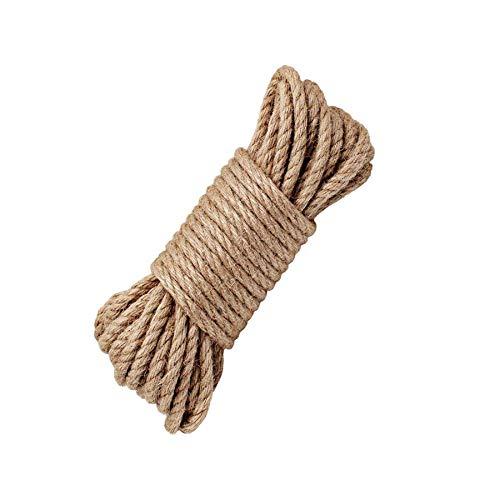 LUOOV - Cuerda 100% natural de cáñamo, 6 mm de grosor, soga fuerte de yute, cuerda para camping, jardines, barcos, juegos de guerra, mascotas, cuerda de escalada, cuerda de utilidad multiuso