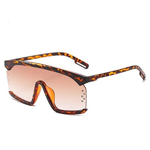 HAOMAO Gafas de Sol con Montura de Gran tamaño para Mujer, Lentes Coloridos y Frescos, diseñador de Marca al Aire Libre, Gafas para Hombre, leopardtea