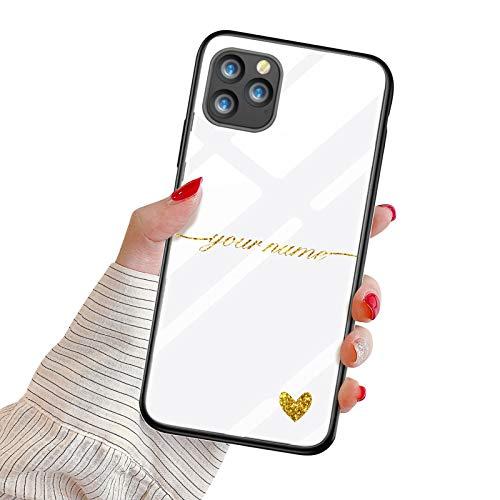 Oihxse Mujer Niña Moda Cover para Xiaomi Redmi 10X 4G/Note 9 Funda Personalizada Nombre Texto Carcasa Anti-rasguños Vidrio Templado Estuche Case Festival Regalo para Madre/Esposa/Novia,Dorado