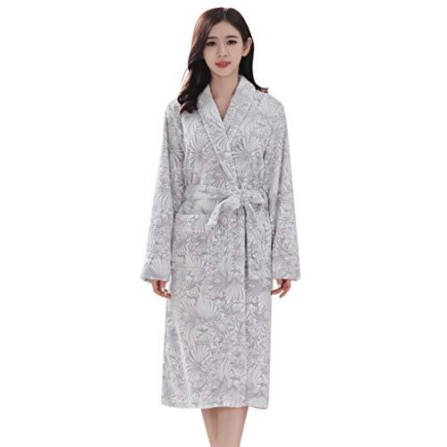 OverDose Damen Liebhaber Winter Frauen männer Freizeit verlängert Bademantel spleißen Hause Kleidung quilten weiches licht langärmelige Robe Mantel Kleid(Grau,XL )