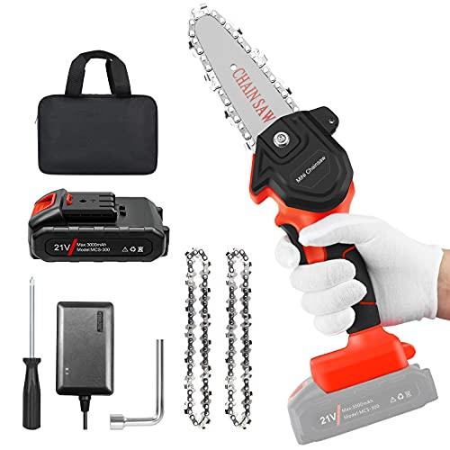Mini Chainsaw, 4'' Cordless Electric Portable Chain...