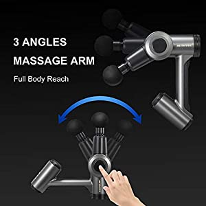Massage Gun Deep Tissue, Hethtec Handheld Muscle Massager for Pain Relief with Adjustable Arm, Ultra-Quiet Brushless Motor, LCD Touch Screen, Long Battery Life, Includes 6 Massage Heads