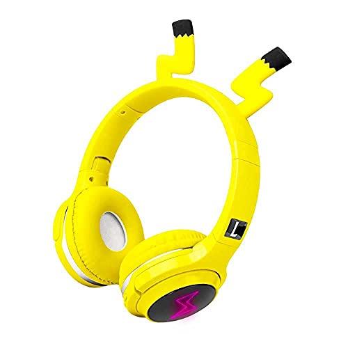 Cuffie Bluetooth, cuffie wireless e cablate Bluetooth V5.0 LED si accendono senza fili e pieghevoli con controllo microfono integrato per telefono Pad smartphone PC portatile (colore: giallo)