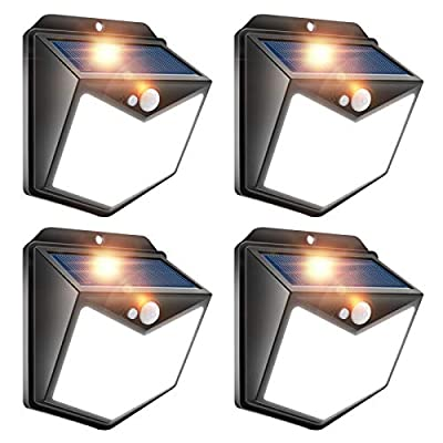 LightingWill Solar Wall Light, 140LED Motion Sensor Light Outdoor Super Bright Security Wall Lights for Front Door, Yard, Garage, Deck, Daylight 4Pack