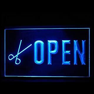 160114 Open Scissors Hair Cut Salon Barber Display LED Light Sign