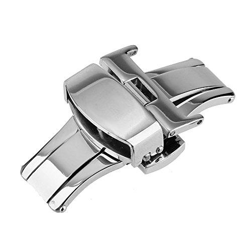 Beauty7 16mm Silber Faltschließe Uhrenarmband Schließe Schnalle Ersatzschließe